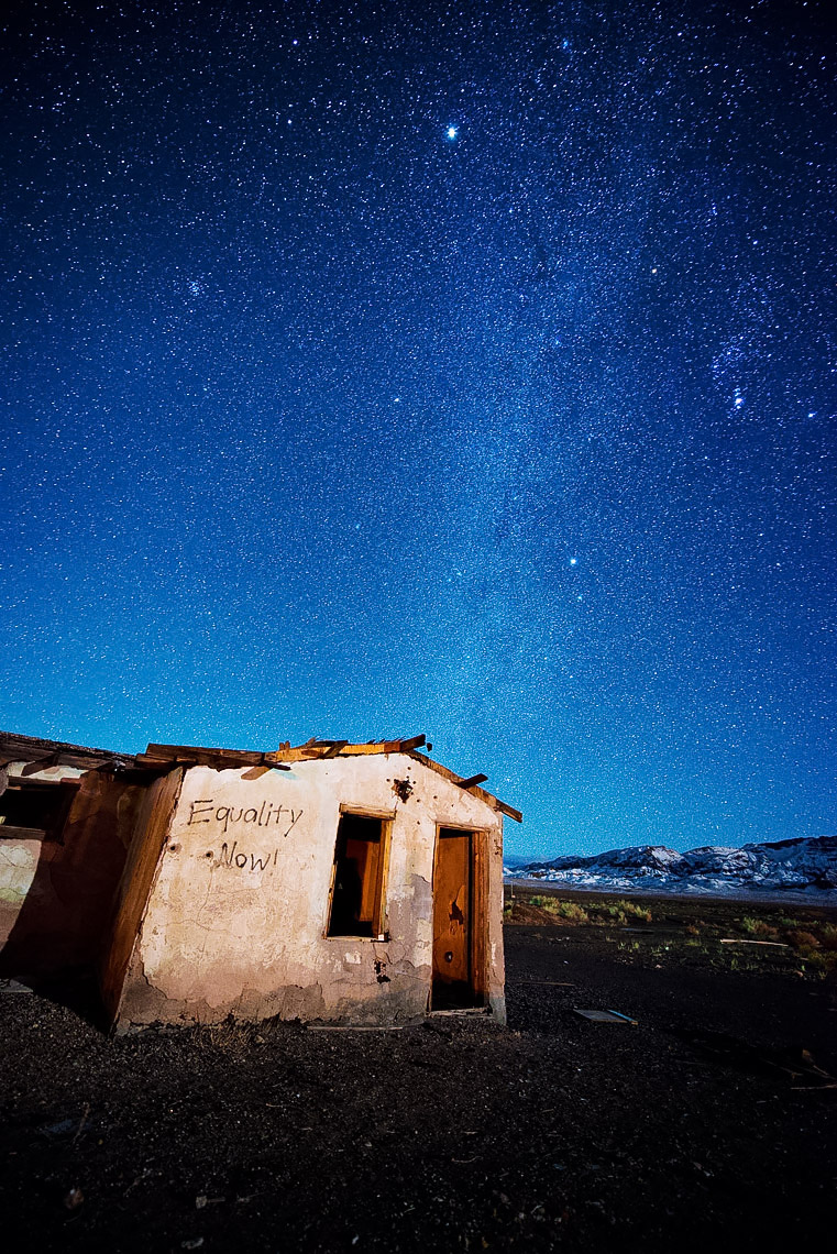 Night Sky - Abandoned Building Under The Stars And Milky Way - Coaldale, Nevada