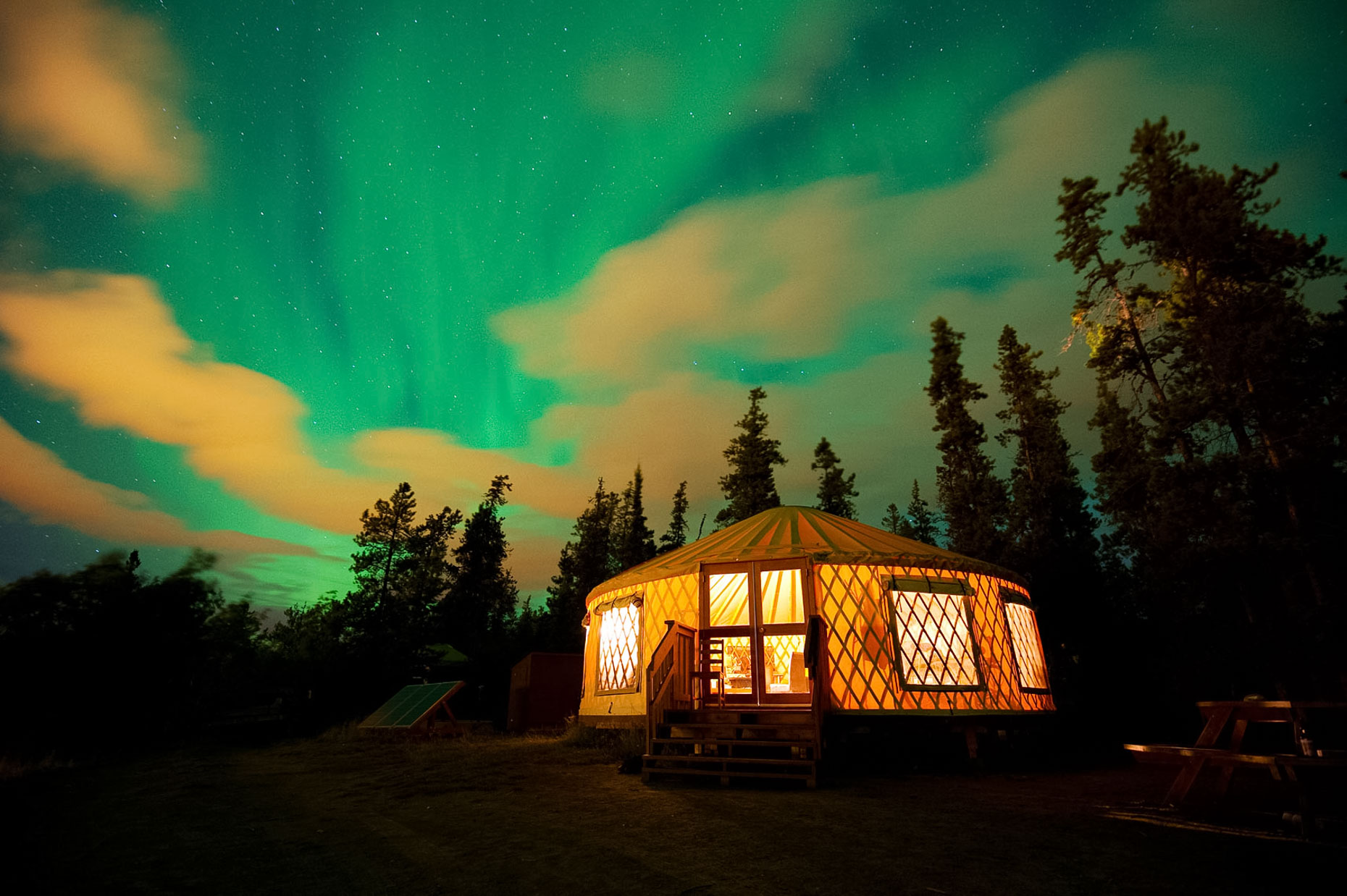 Northern Lights Over Yurt - Whitehorse, Yukon Territory, Canada