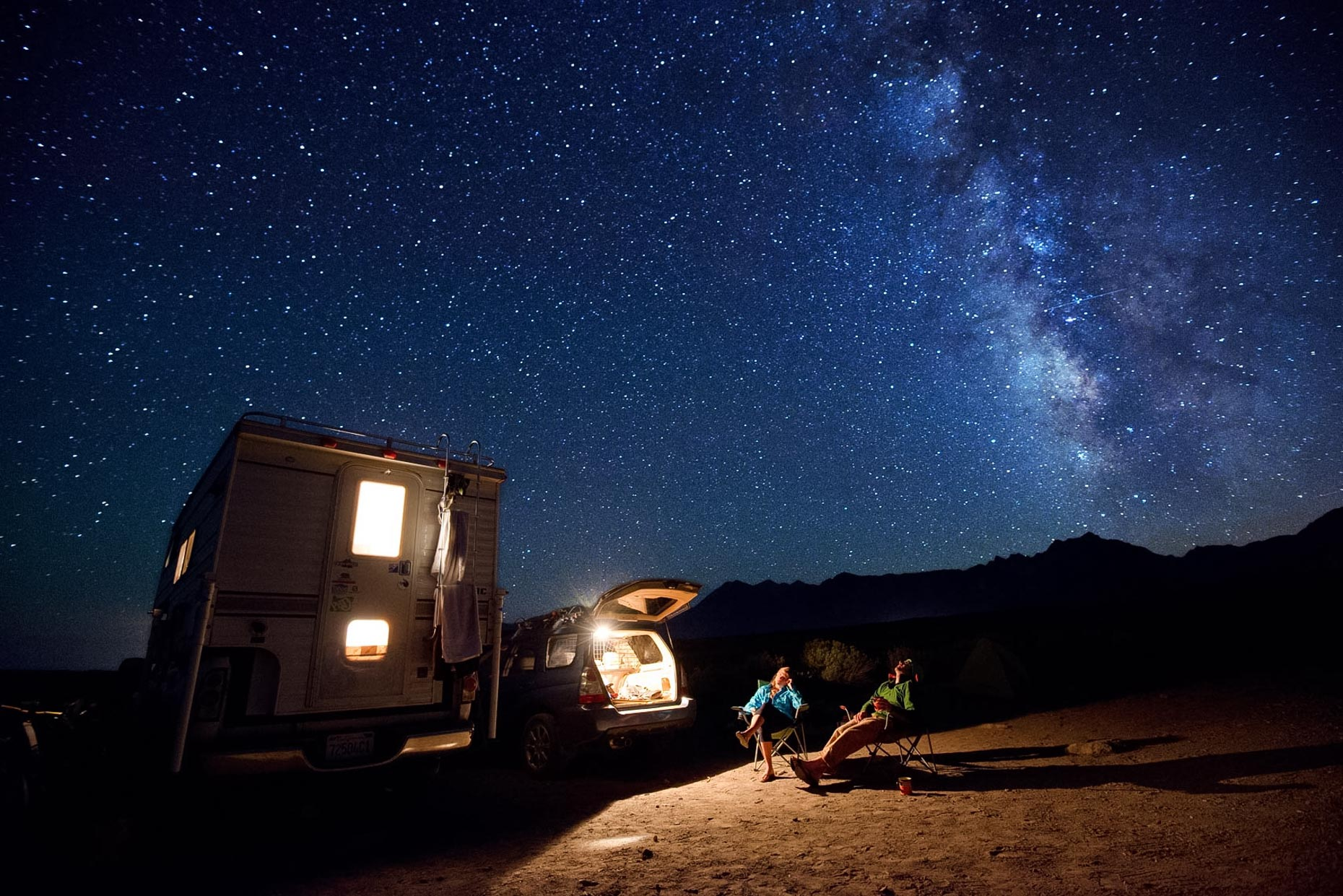 Night Sky - Car Camping Under the Stars And Milky Way - Eastern Sierra Nevada, California