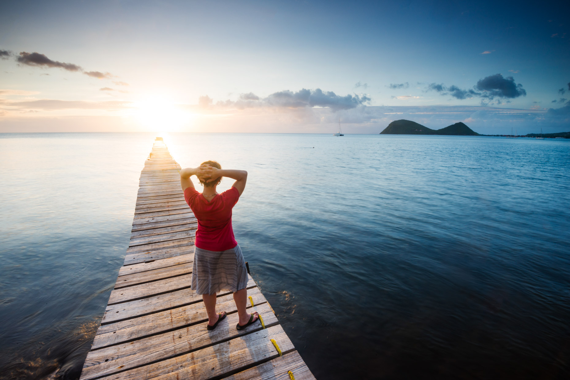 Lifestyle - Woman Watching Sunset in Portsmouth, Dominica