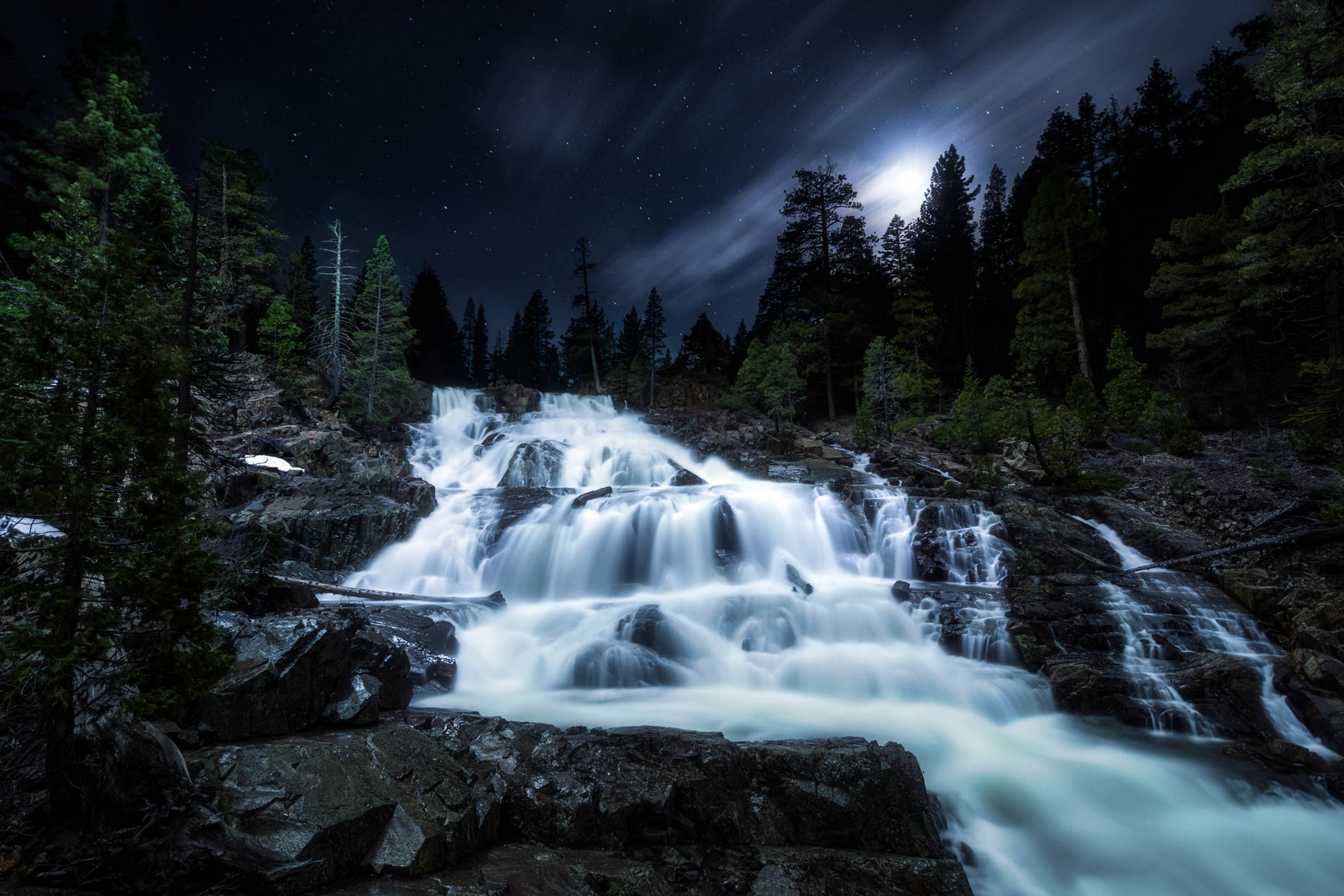 Night Sky - Glen Alpine Falls, South Lake Tahoe, California