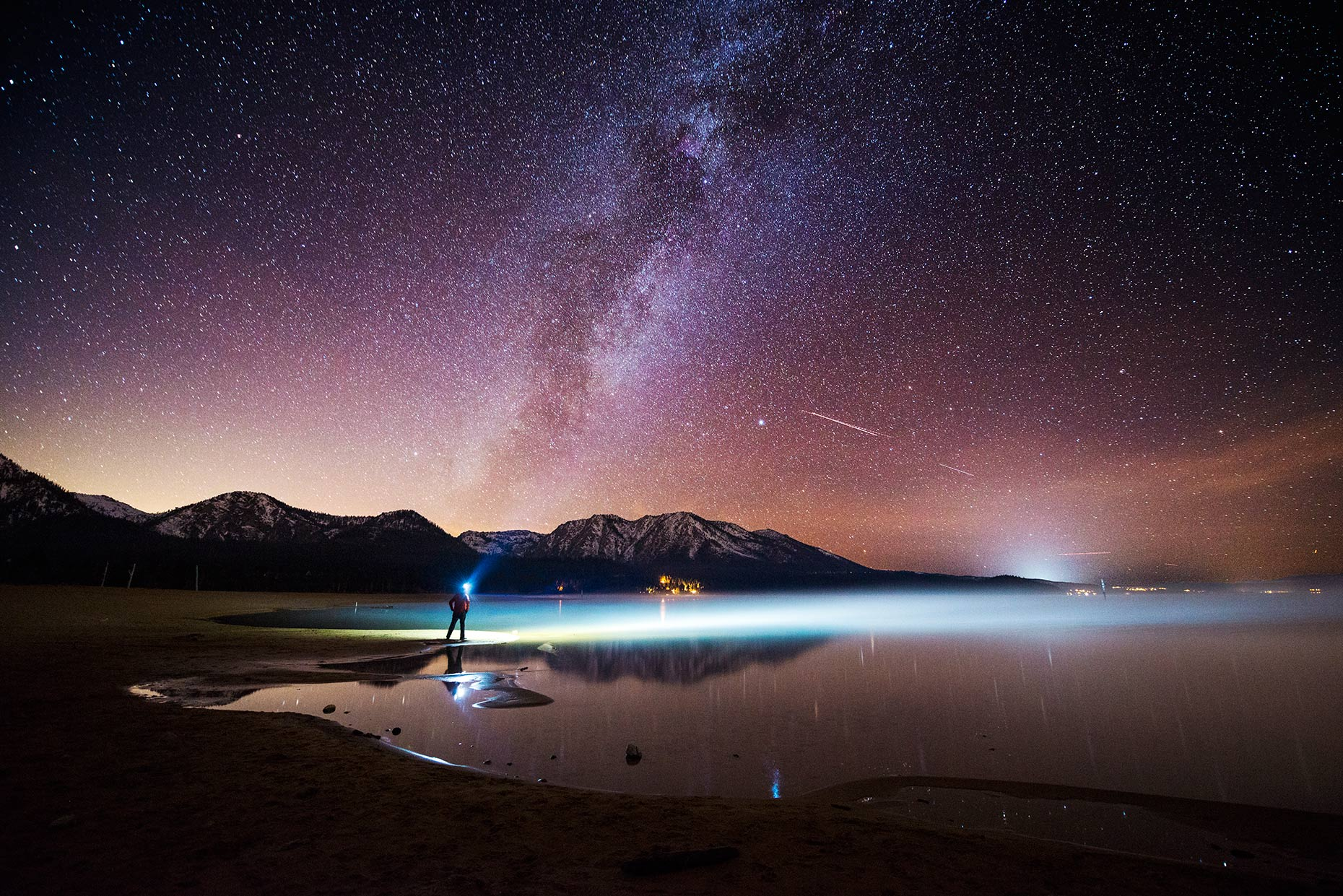 Night Sky - Headlamp Milky Way Fog In South Lake Tahoe, California