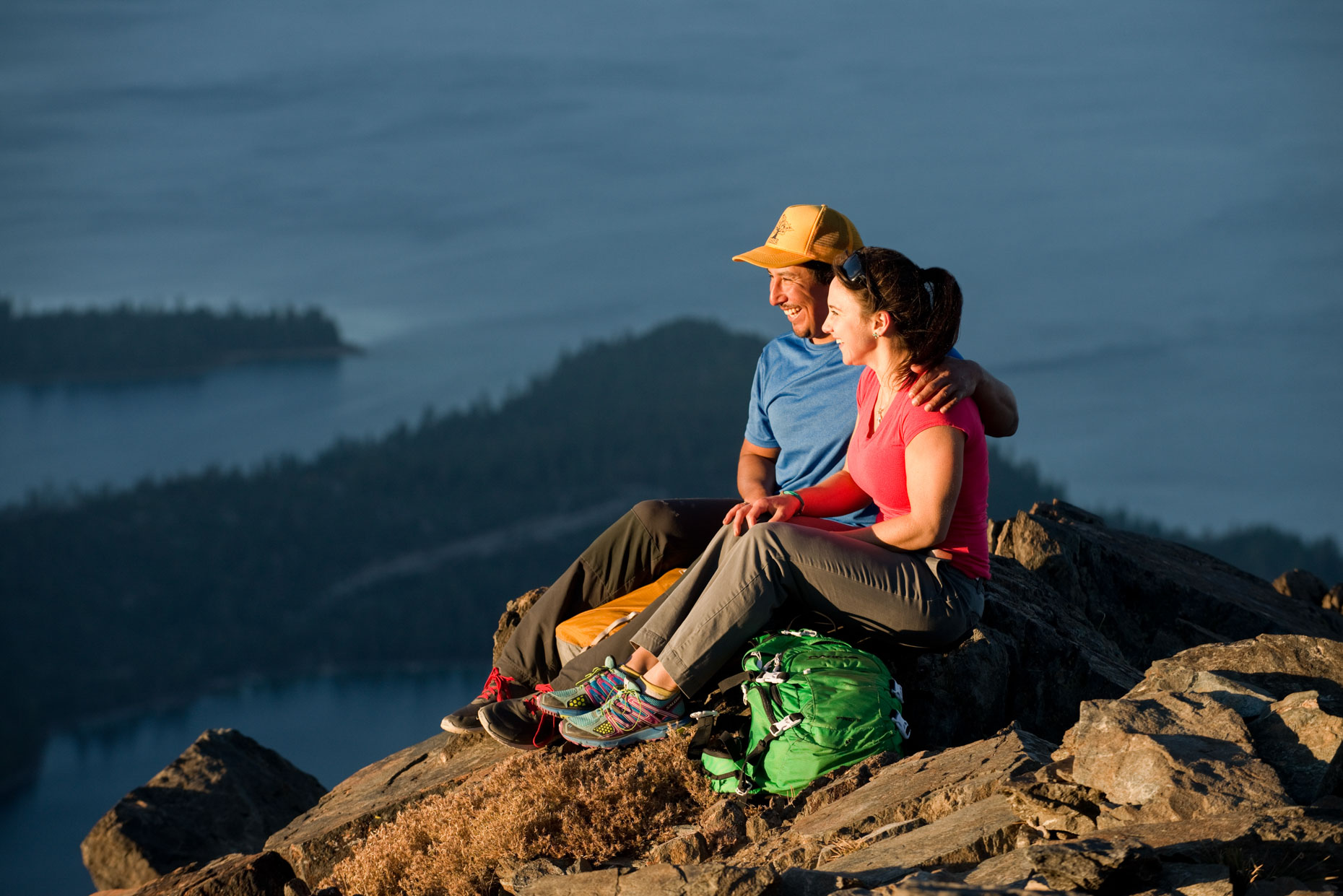 Lifestyle - Couple On Mount Tallac Summit, Lake Tahoe, California