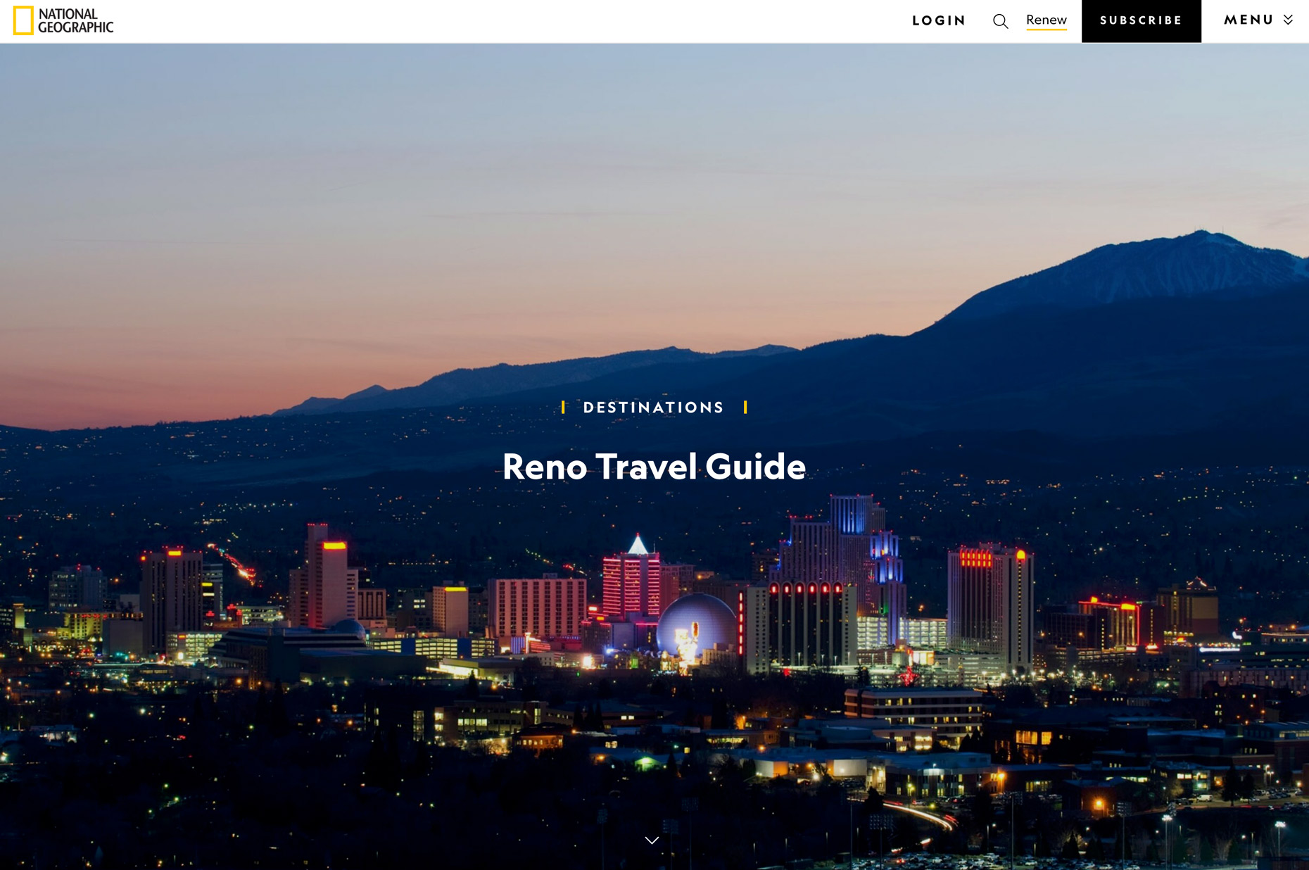National Geographic - Destination Guide - Reno, NV