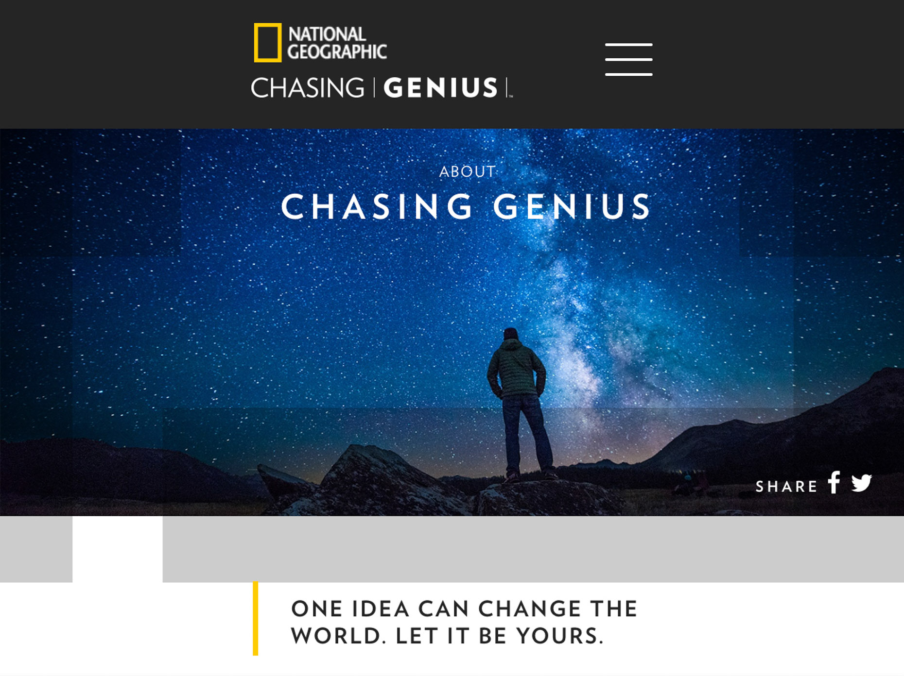 National Geographic - Chasing Genius Contest and Campaign - Hope Valley, California