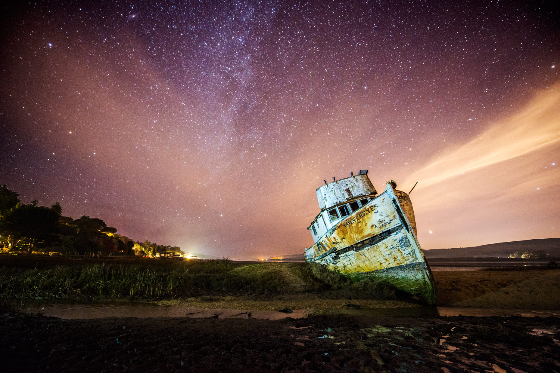 Night Sky - Point Reyes Boat Under The Stars and Milky Way, California