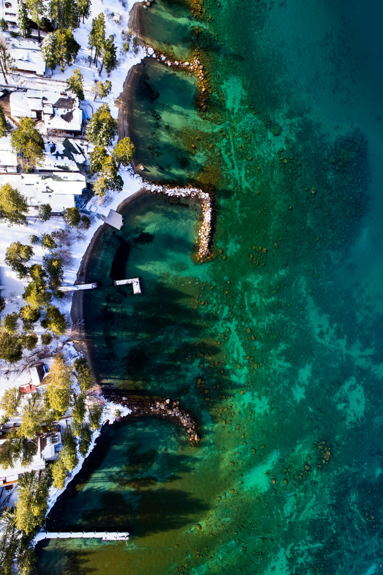 Drone - Winter Lake Tahoe Shoreline, Cave Rock, Nevada