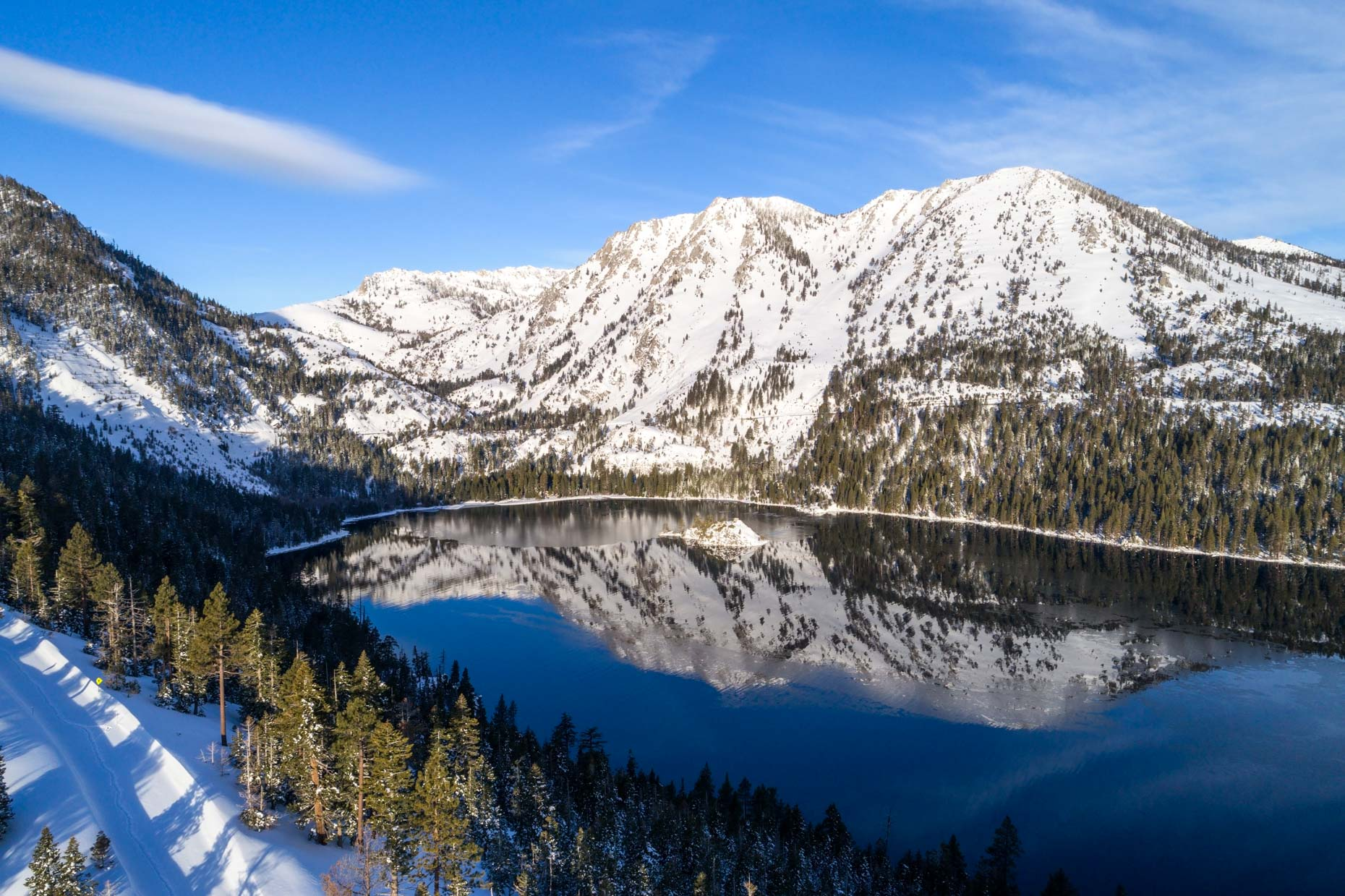 Drone - Winter Emerald Bay, Lake Tahoe, California