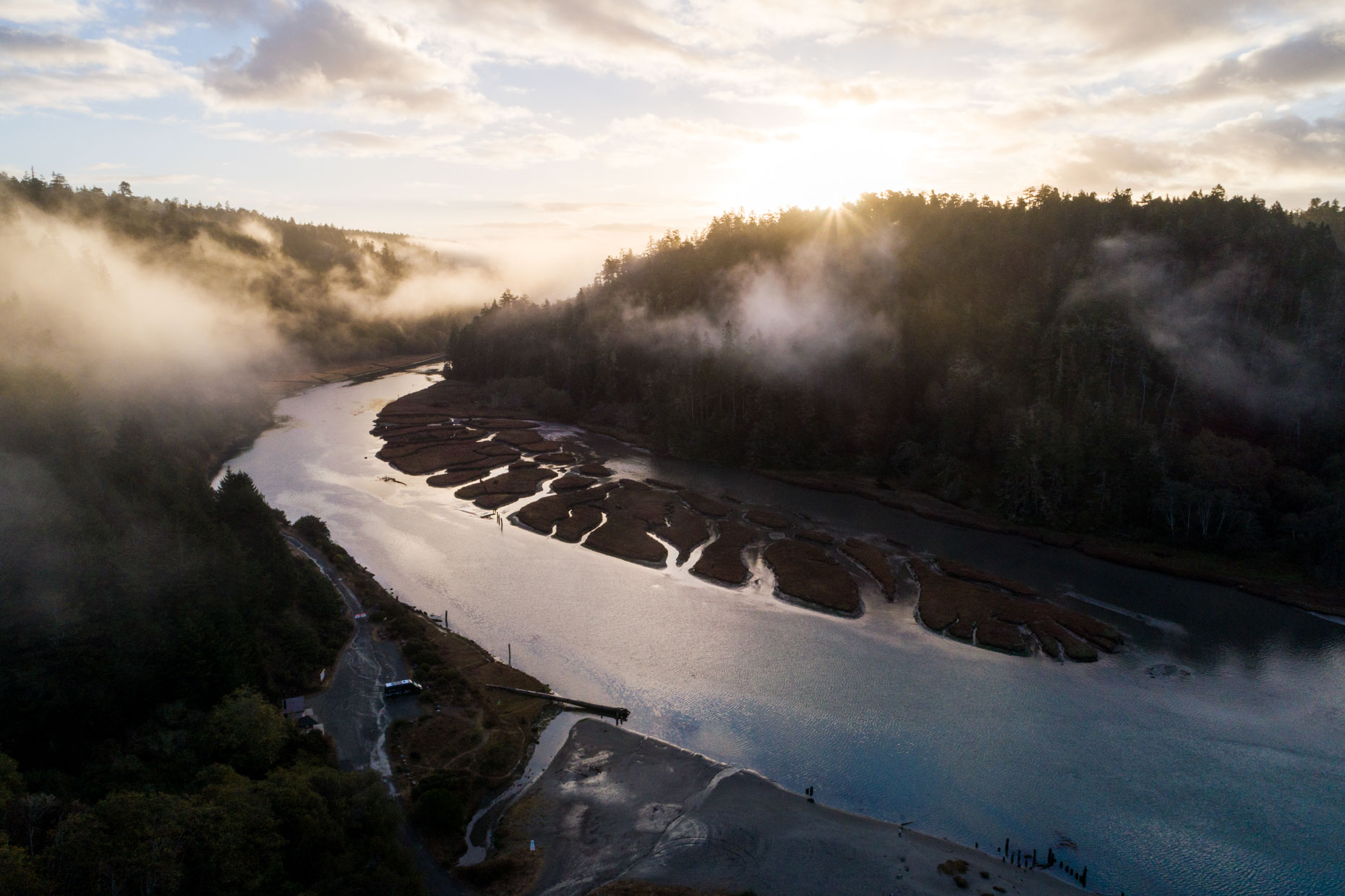 Drone - Big River, Mendocino, California