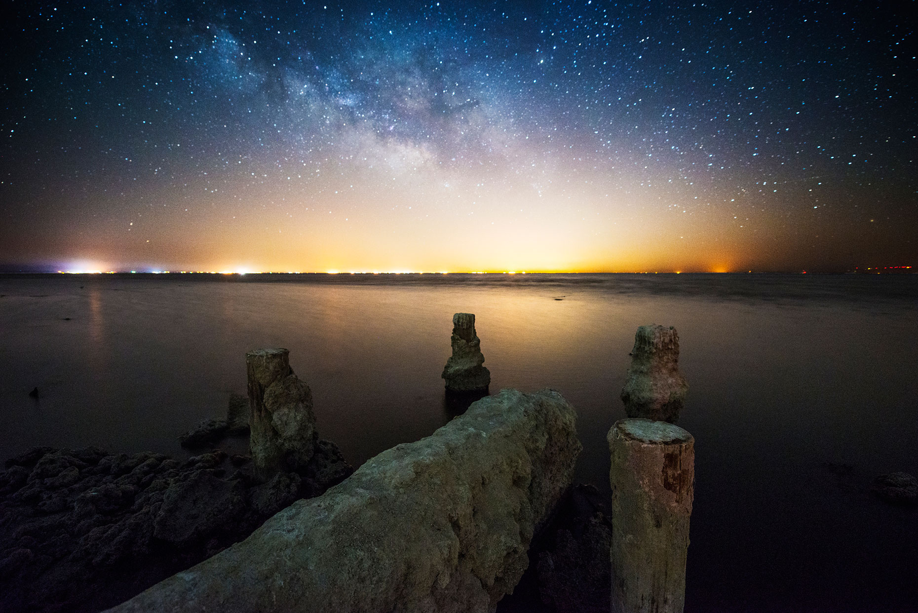 Night Sky - Salton Sea Pier Under The Stars, California