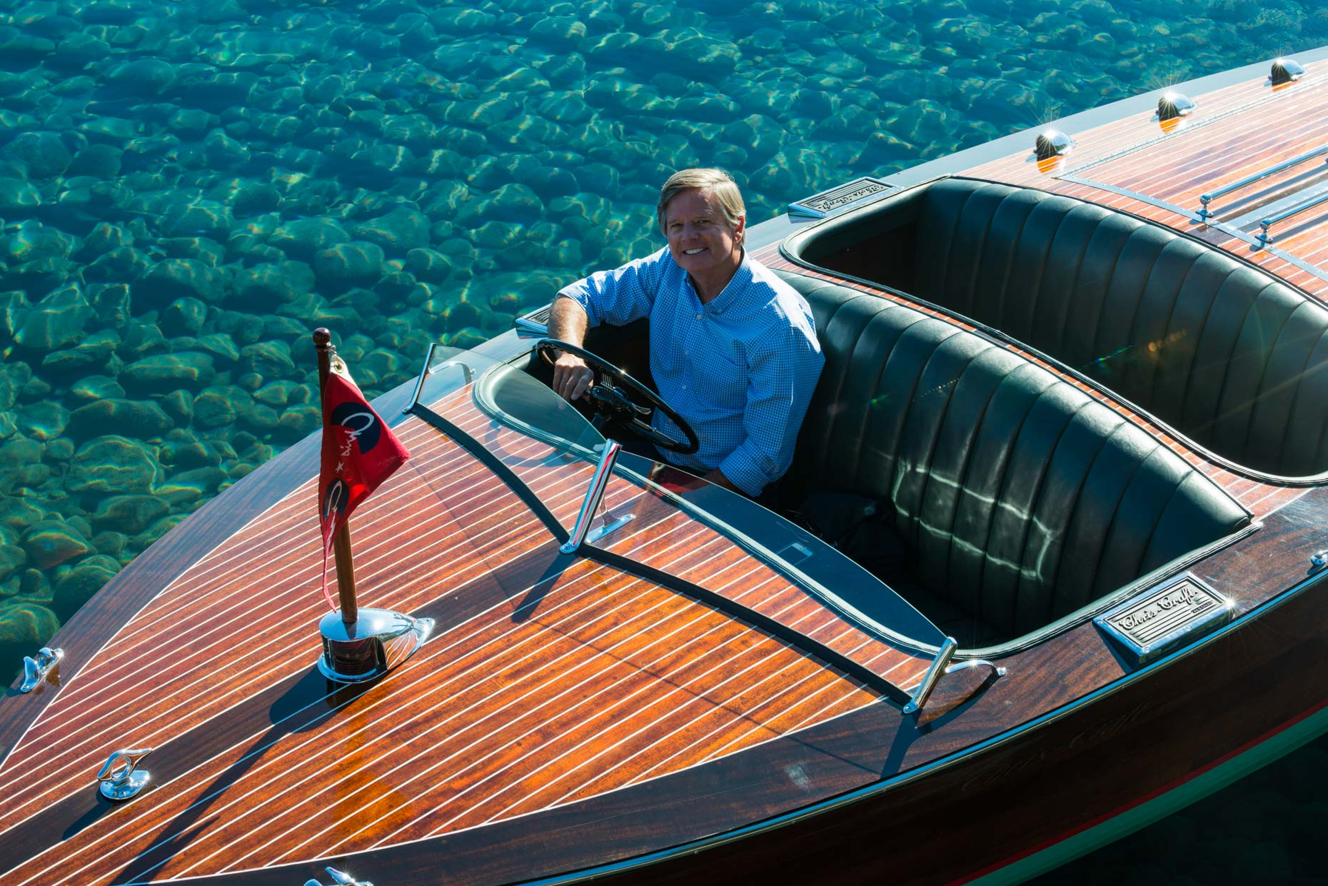 Rick Brown In His Wooden Boat - Lake Tahoe, California