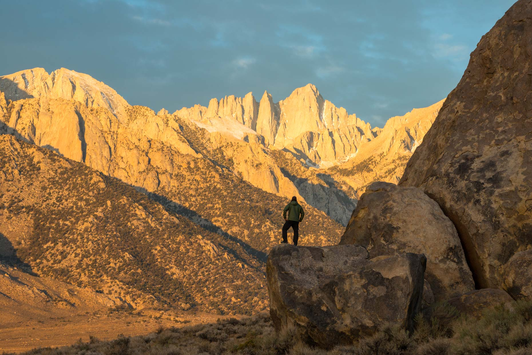 Watching Sunrise From Alabama Hills on Mount Whitney - Alabama Hills, Lone Pine, California