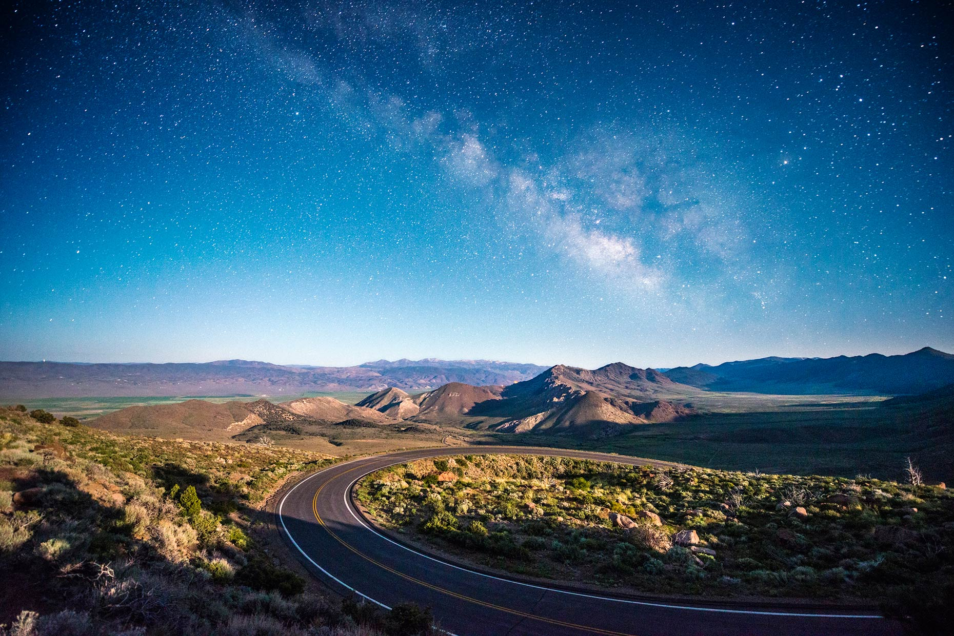 Winding Road At Night Under The Stars - Monitor Pass, California
