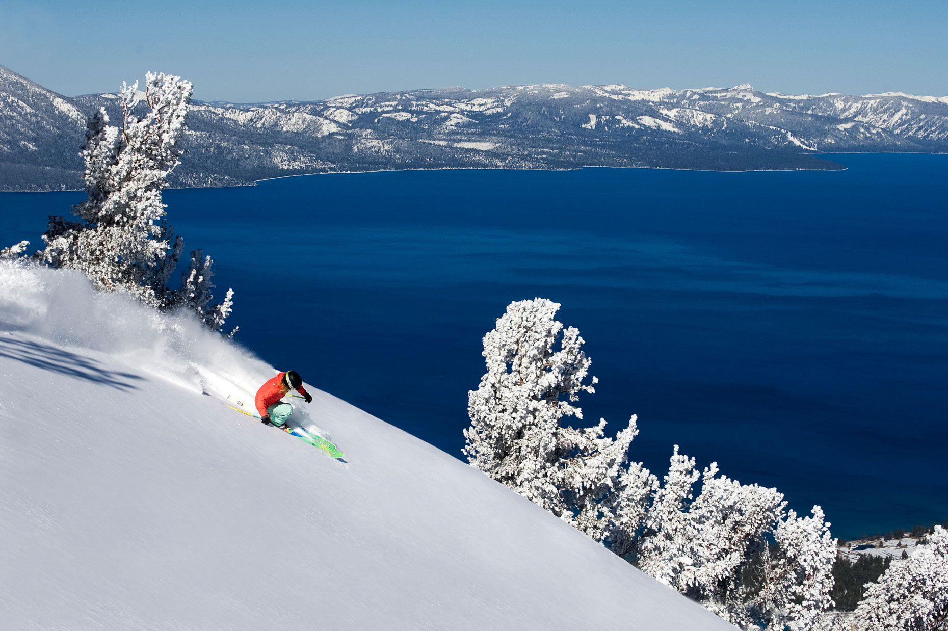 Skiing Powder At Heavenly Mountain Resort - South Lake Tahoe, California