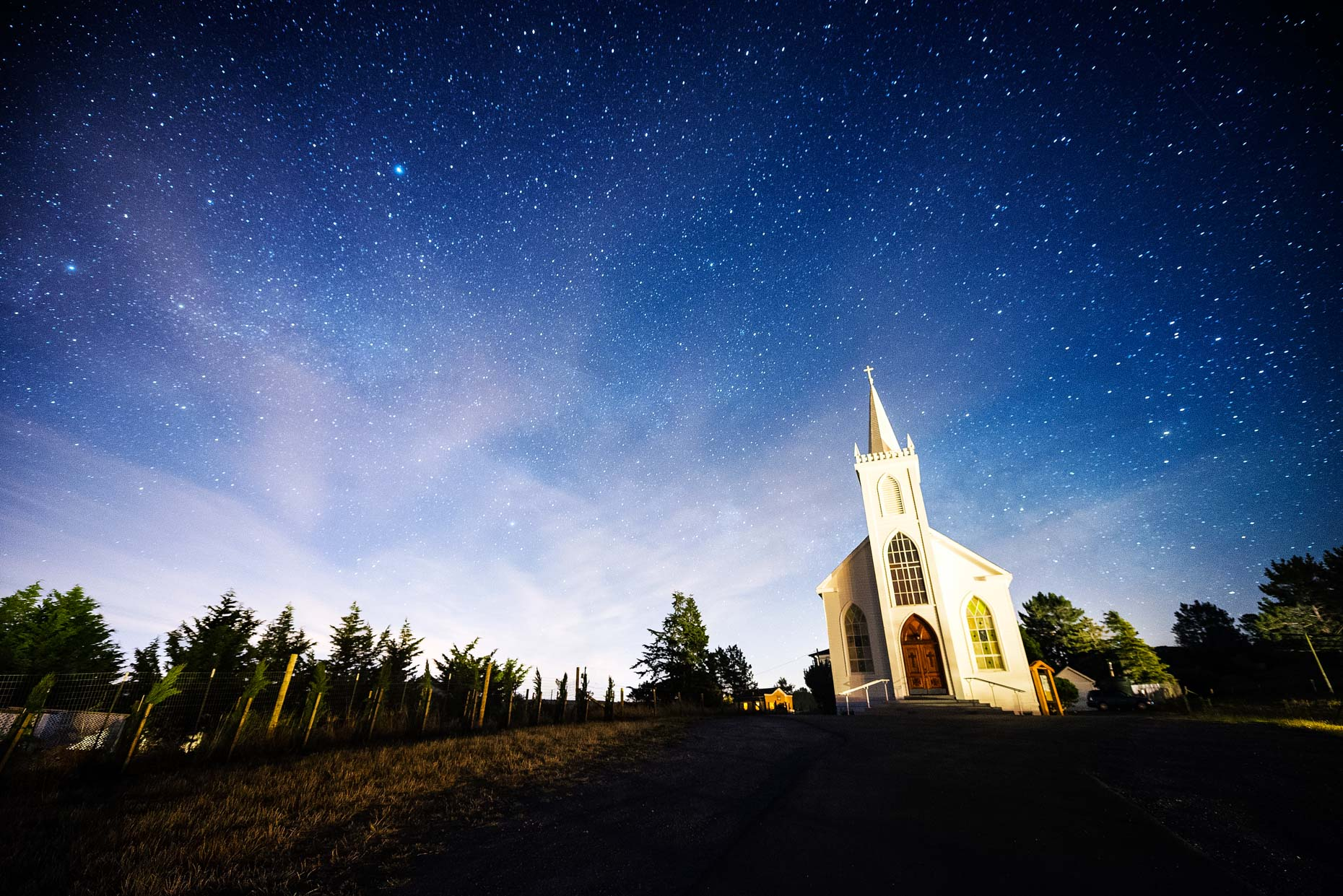 Bodega Church At Night - Bodega, California