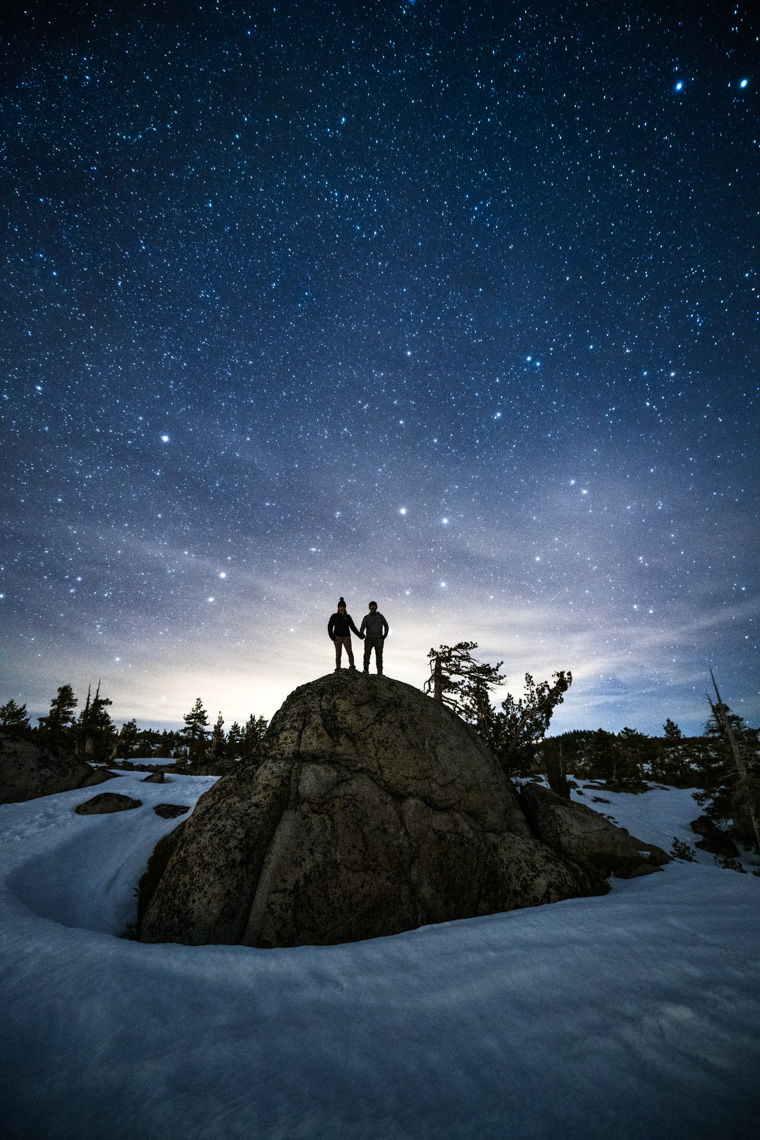 Night Sky - Couple In Winter - Kirkwood, California