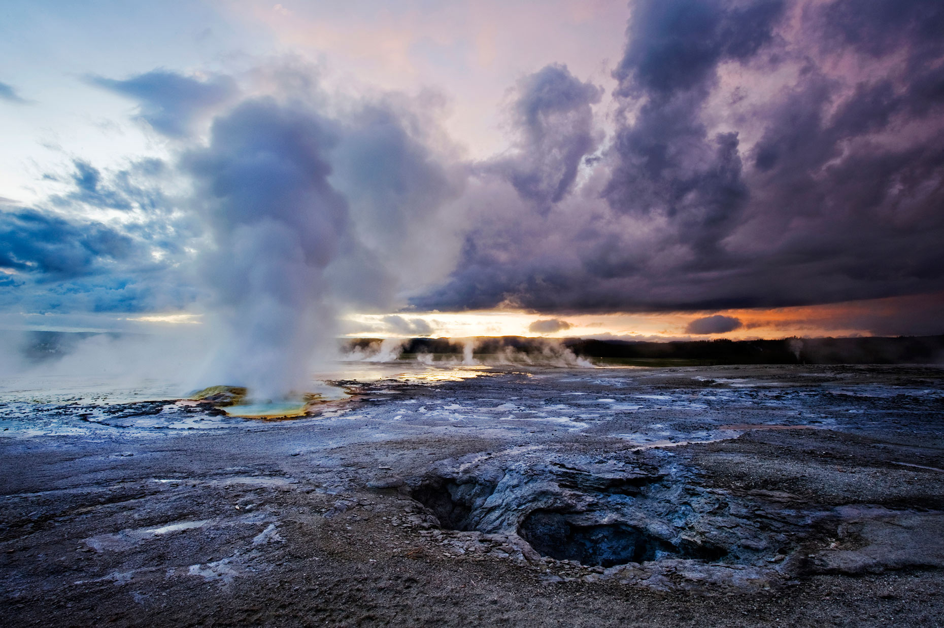 Clepsydra Geyser At Sunset - Yellowstone National Park, Wyoming