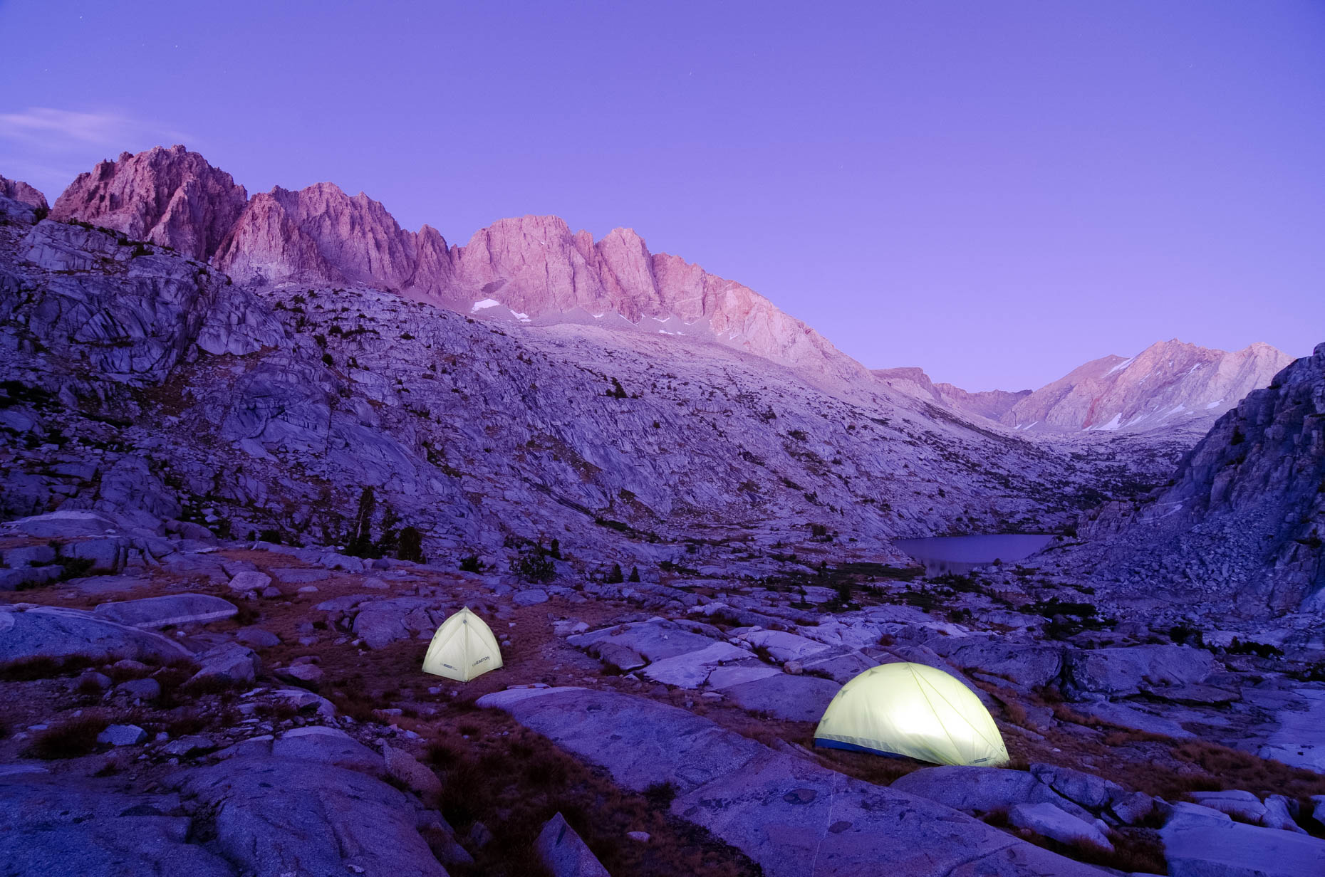 Tents Illuminated On Cirque Pass - The Sierra High Route, Sierra Nevada, California