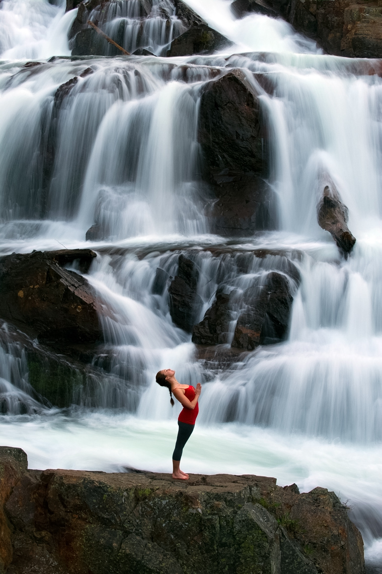 Lifestyle - Yoga Beneath A Waterfall - South Lake Tahoe, California
