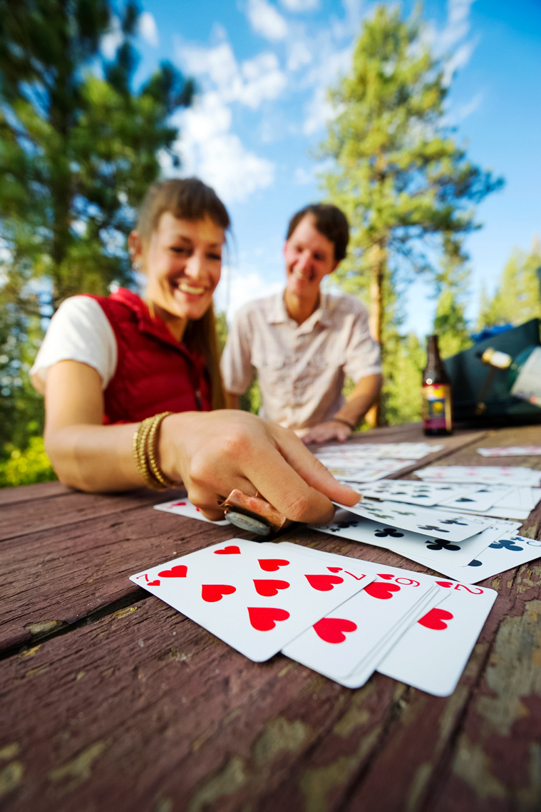 Camping And Playing Cards At Zephyr Cove Resort - Lake Tahoe