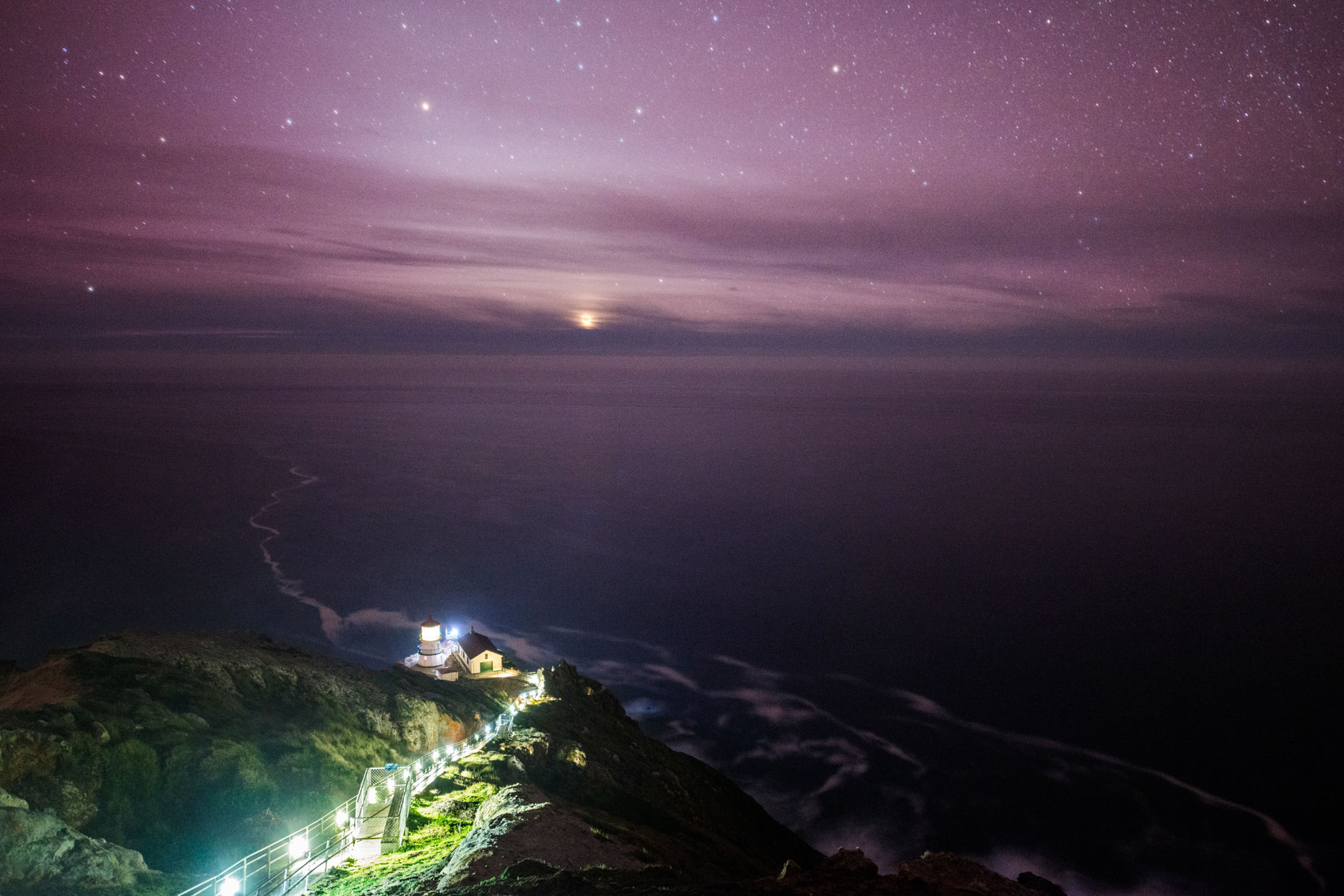 Point Reyes Lighthouse at Night - Point Reyes National Seashore, California