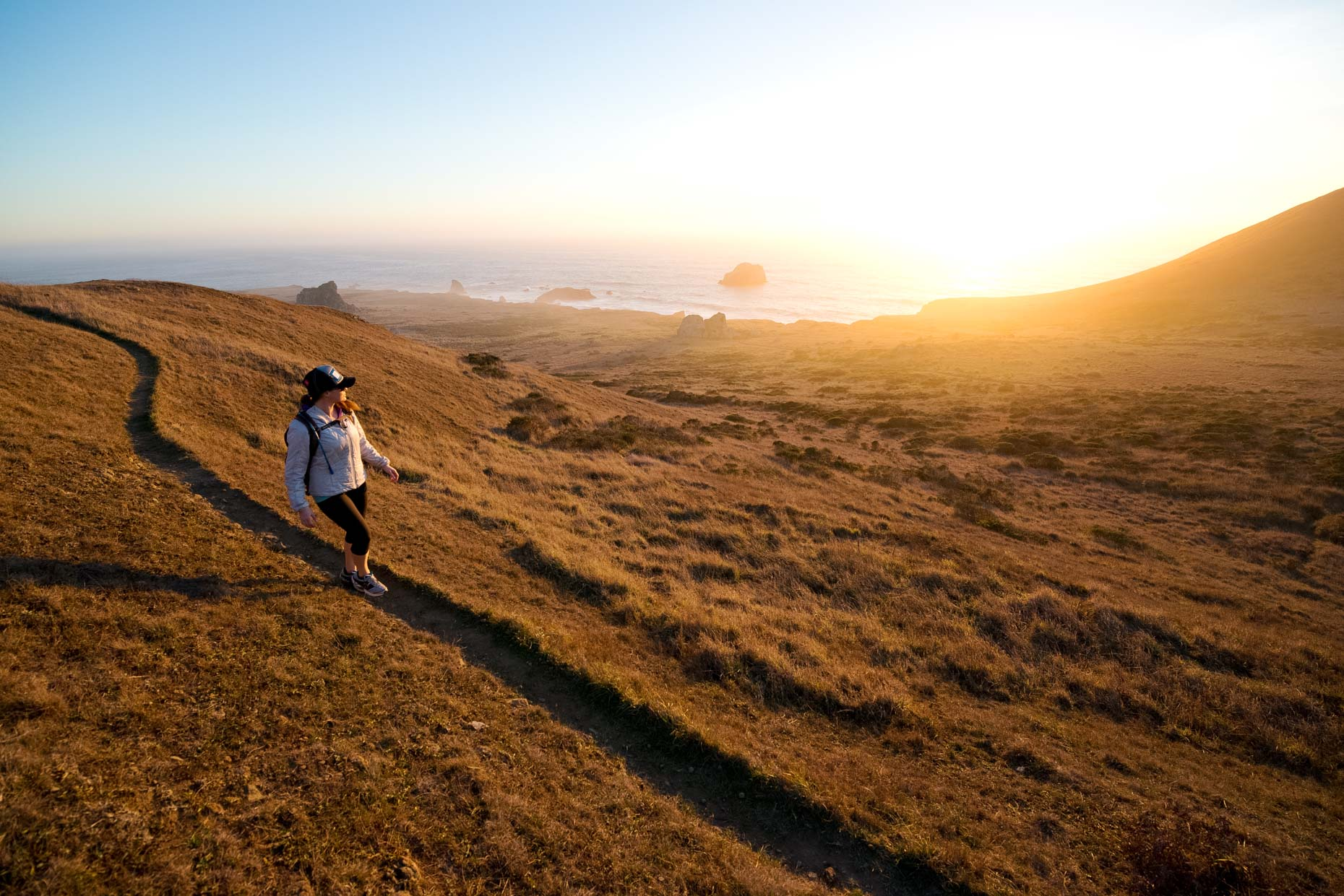 Hiking The Kortum Trail At Sunset - Sonoma Coast State Park, California