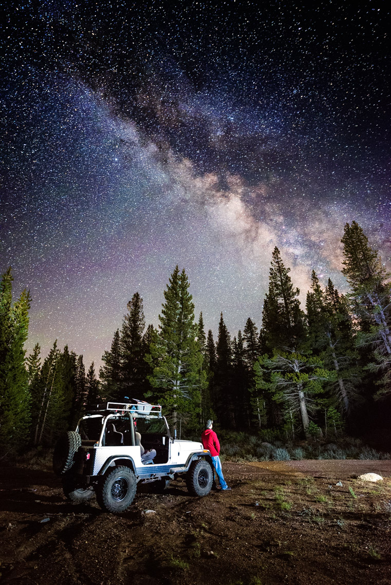 Night Sky - Jeep 4x4 Exploring At Under The Stars - Lake Tahoe, Nevada