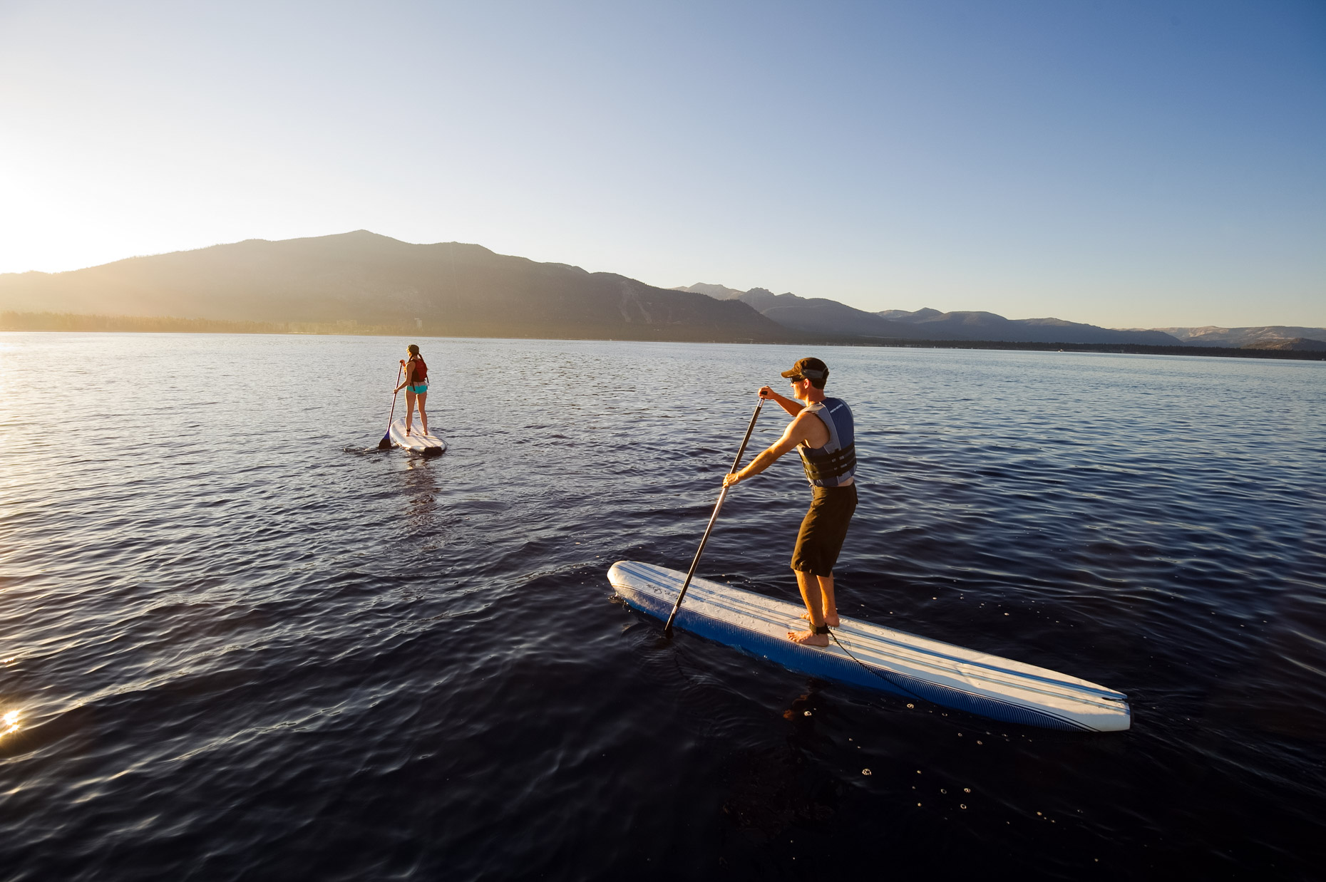 Stand Up Paddleboarding (SUP) At Sunrise - Lake Tahoe, Nevada