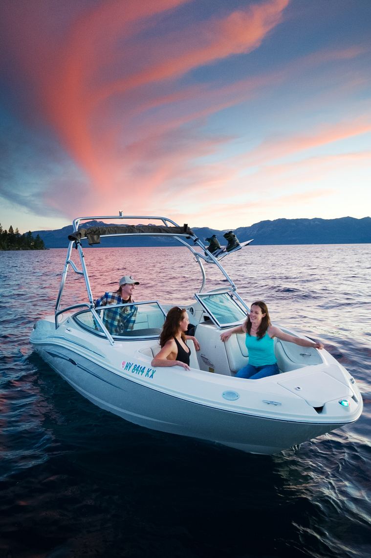 Powerboat At Sunset - Lake Tahoe